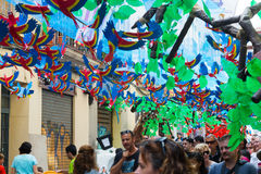 Decorated streets of Gracia district.  Zoo theme Stock Photo