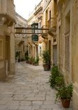 Streets Of Vittoriosa, Malta. Decorated streets in Vittoriosa, Malta Stock Photo