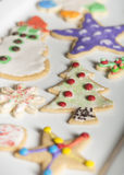 Decorated sugar cookies. Delicious sugar cookies decorated for christmas Stock Photo