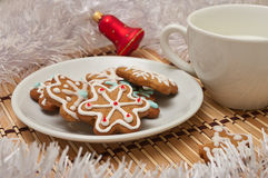 Decorated Sugar Cookies and Milk for Santa at Christmas Time on Royalty Free Stock Photo