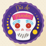 """Decorated Sugar Skull for """"Dia de Muertos"""" in Flat Style, Vector illustration Stock Image"""