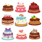 Decorated sweet festival cakes collection isolated on white Royalty Free Stock Photo