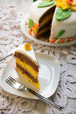 Decorated layer cake Stock Images