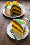 Decorated layer cake Stock Image