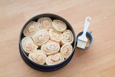 Decorated sweet roll cake Stock Photos