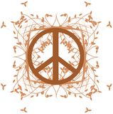 Symbol of peace decorated with leaves isolated Royalty Free Stock Image