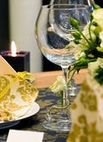 Decorated table. Wedding table decorated with bouquet and candle Royalty Free Stock Photos