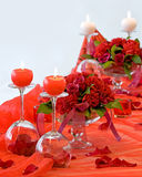 Decorated table. Wedding table decorated whit bouquets and candles Stock Images
