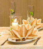 Decorated table. Wedding table decorated with flower and candles Royalty Free Stock Photos