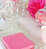 Decorated table for a baby shower Stock Image