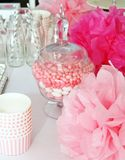 Decorated table for a baby shower Stock Photography