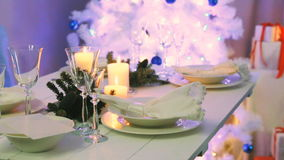 Decorated table for Christmas Eve stock footage