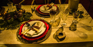 Decorated table with cutlery for festivals Stock Photo