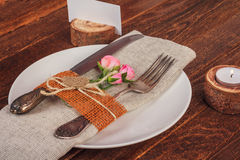 Decorated table for dining in rustic style with pink roses Stock Photography