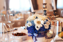Decorated table. From an event hall or ballroom Stock Photo