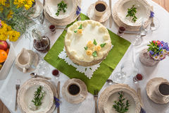 Decorated table for four guests Royalty Free Stock Image