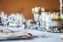 Decorated table with glassware and cutlery Royalty Free Stock Photo
