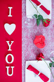Decorated table with I love you message Royalty Free Stock Photos
