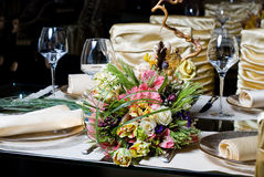 Decorated table in the restaurant Stock Image