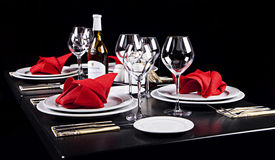 Decorated table in restaurant Royalty Free Stock Photography