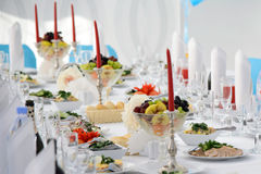 Decorated table in the restaurant serving. Stock Photos