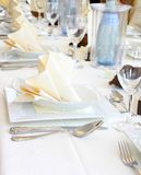 Decorated table in restaurant waiting for party Royalty Free Stock Images