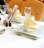 Decorated table in restaurant waiting for two person. Horizontal Royalty Free Stock Photos
