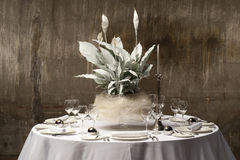 Decorated table. Served with a round table with artificial flowers Royalty Free Stock Photo
