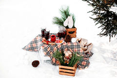 Decorated table served for two. Romantic picnic in winter. Decorated table served for two covered with a blanket, standing in snow near fir tree. Winter Stock Photo