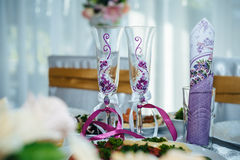 Decorated table set for wedding or another catered Stock Photography