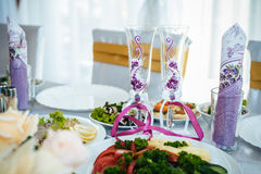Decorated table set for wedding or another catered Stock Photo