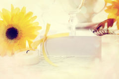 Decorated table setting and blank message card Royalty Free Stock Photo