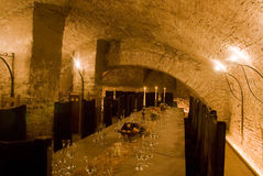 Decorated table vine cellar Royalty Free Stock Photography