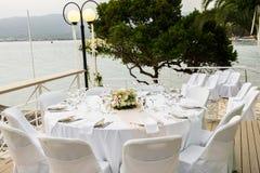 Tables for wedding dinner Stock Photo
