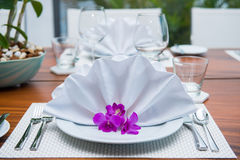 Decorated table with white napkin. Table setting Royalty Free Stock Images