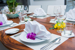 Decorated table with white napkin. Table setting Royalty Free Stock Photography