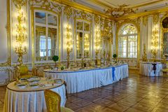 Decorated tables with the badges and sashes of Russian orders of Royalty Free Stock Photo