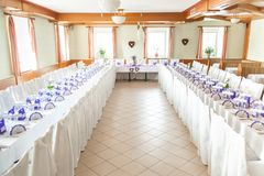 Decorated Tables in a Festive Hall Royalty Free Stock Image