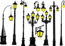 Decorated ten street lanterns collection Stock Photo