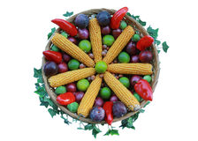 Decorated thanksgiving basket Stock Photography