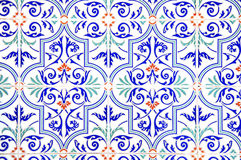 Decorated tiles. Tile decorated with designs of blue Stock Photos