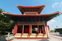 Decorated Tower of Chinese temple's curved roof in Chinese Temple royalty free stock images