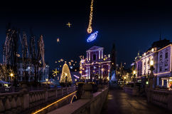 Decorated town square Stock Photos