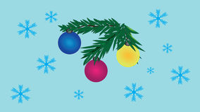 Decorated toy fur-tree branch and snowflakes. Royalty Free Stock Photography