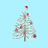 Decorated with toys Christmas tree on a light blue background. New Year decoration illustration. Decorated with toys Christmas tree on a light blue background Stock Photos