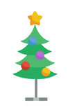 Decorated with Toys and Star Christmas Tree Icon. Fir or Pine on metal stand cartoon flat vector  on white. Celebrating Merry Christmas, Happy New Year. For Royalty Free Stock Photography