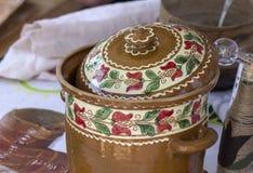 Decorated traditional Transylvanian pot Royalty Free Stock Photo