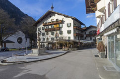 Decorated in the traditional Tyrolean style facade of the hotel. Royalty Free Stock Image