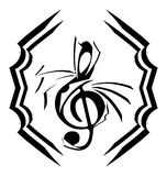 Decorated Treble clef in black isolated Royalty Free Stock Image