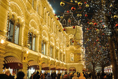 Decorated trees and Christmas illuminations Royalty Free Stock Photography